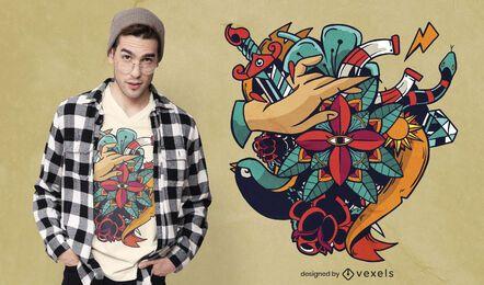 Design artístico de t-shirt de tatuagem
