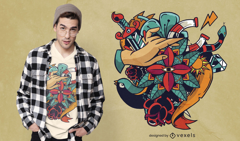 Diseño de camiseta de tatuaje artístico.