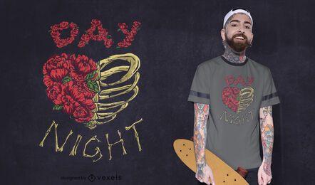 Diseño de camiseta de corazón de rosas y huesos.