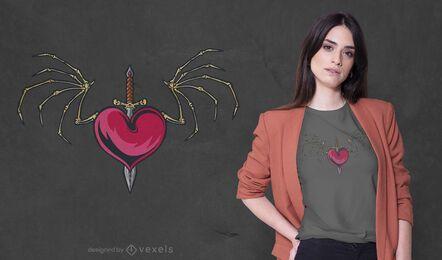 Design de camiseta com coração de asas de ossos