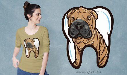 Diseño de camiseta de perro diente