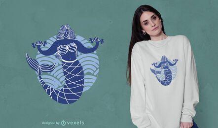 Diseño de camiseta de levantamiento de pesas de sirena.