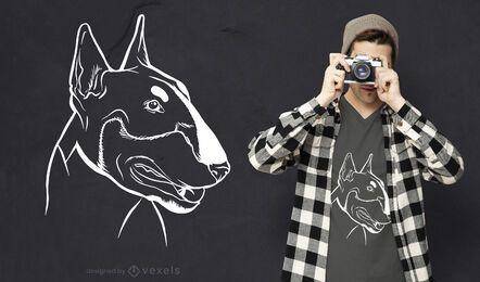 Diseño de camiseta de pizarra de bull terrier