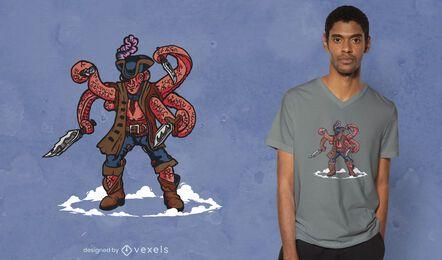Pirate squid t-shirt design