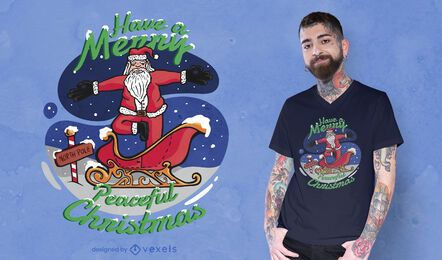 Design de t-shirt do papai noel para ioga