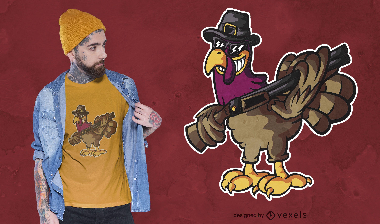 Turkey with gun t-shirt design