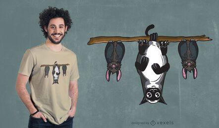 Diseño de camiseta de murciélagos y gatos.