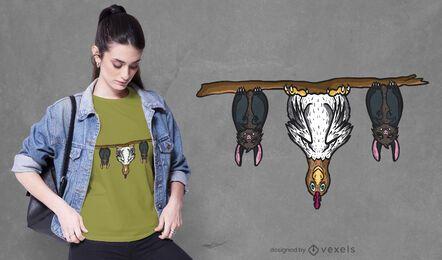 Diseño de camiseta de murciélagos y pollo.