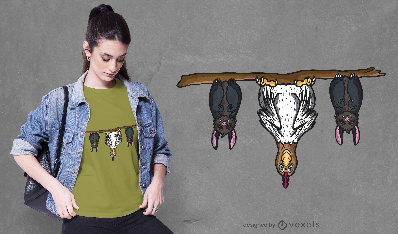 Bats and chicken t-shirt design