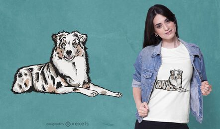 Design de camiseta cão pastor australiano