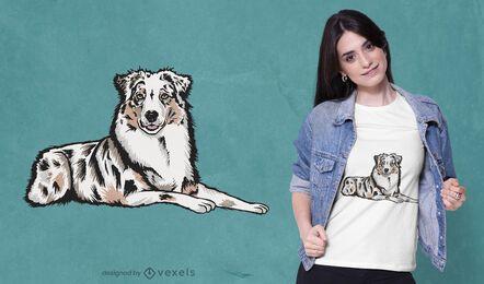 Diseño de camiseta de perro pastor australiano