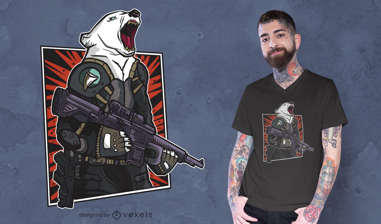 Diseño de camiseta táctica de oso polar.