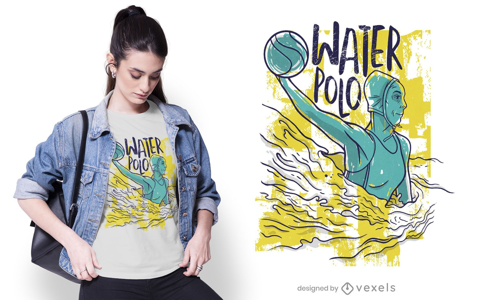 Female water polo player t-shirt design