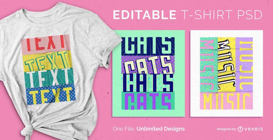 Camiseta escalable pop text psd