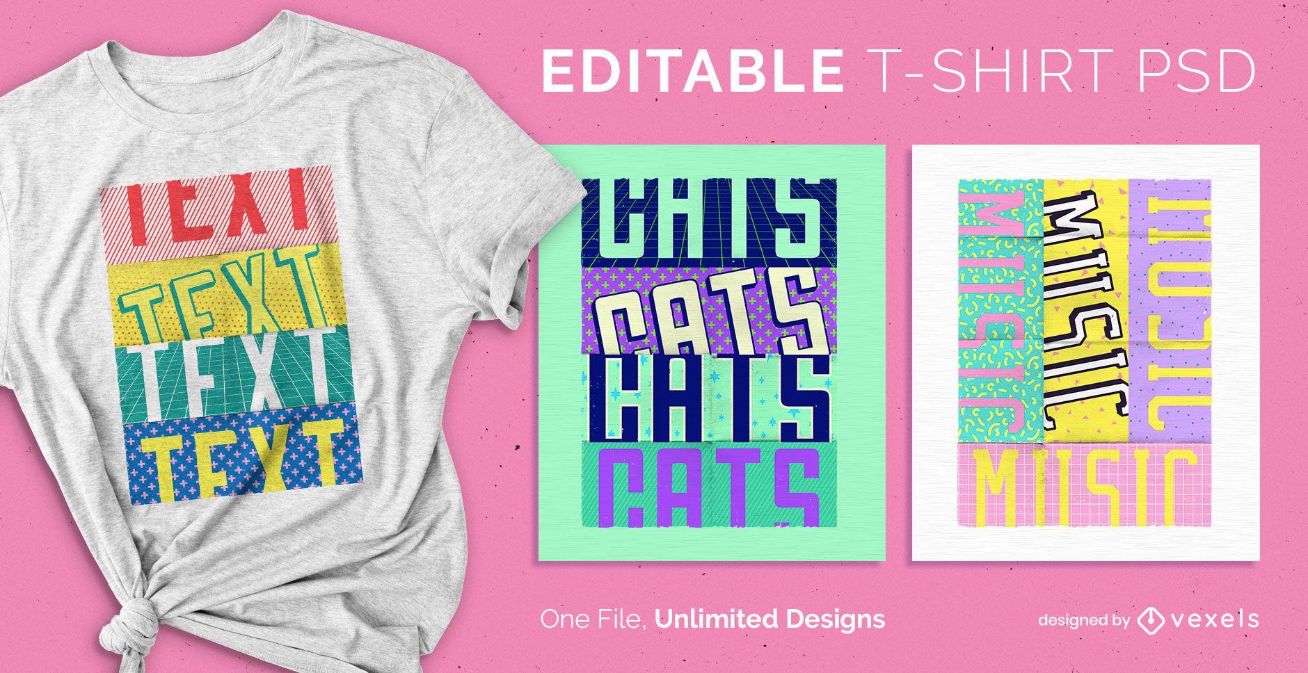 Pop text scalable t-shirt psd