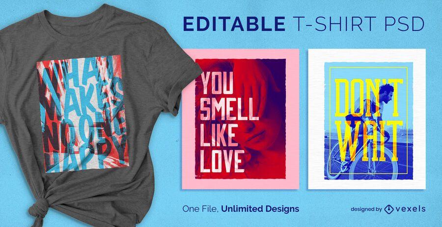 T-shirt escalável com texto transparente psd