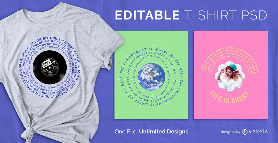 Camiseta escalable texto circular psd