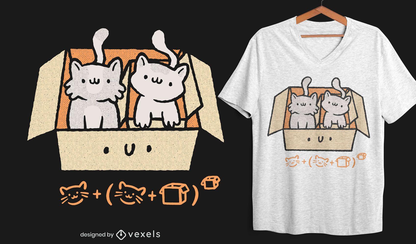 Diseño de camiseta box kittens