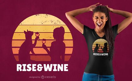 Rise & wine sunset t-shirt design