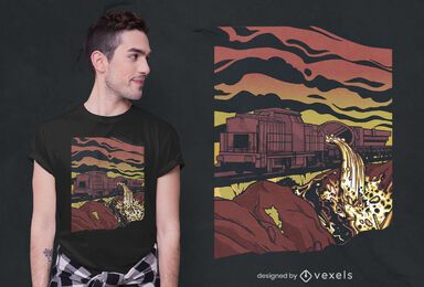 Molten slag train t-shirt design
