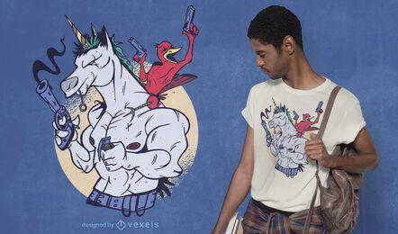 Desenho de unicórnio musculoso e camiseta de pássaro