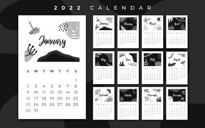 Black and white 2022 calendar design