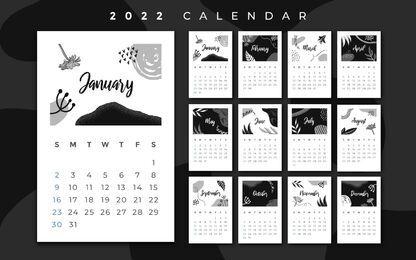 Design de calendário 2022 em preto e branco