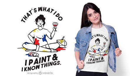 Pinte e saiba coisas design de camisetas
