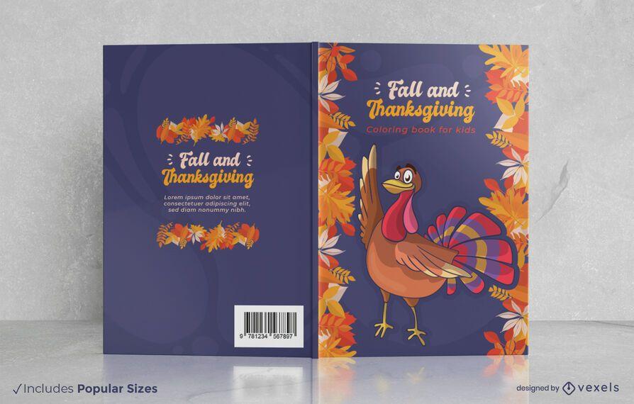 Diseño de portada de libro de otoño y acción de gracias.