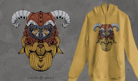 Diseño de camiseta con cara de vikingo