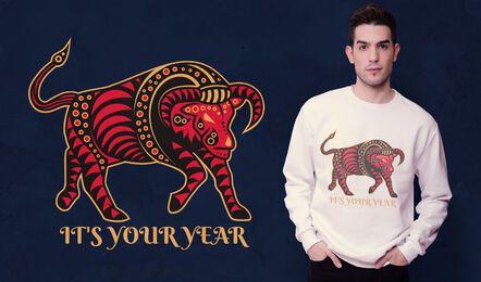 Diseño de camiseta de año de buey.