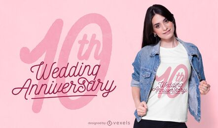 Diseño de camiseta de aniversario de boda