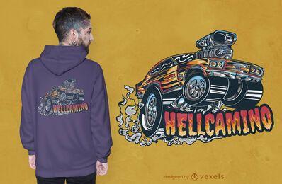 Diseño de camiseta de coche Hellcamino