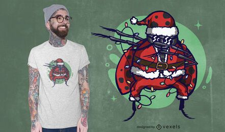 Design de camiseta de joaninha de Natal