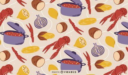 Desenho de padrão de fervura de lagostins
