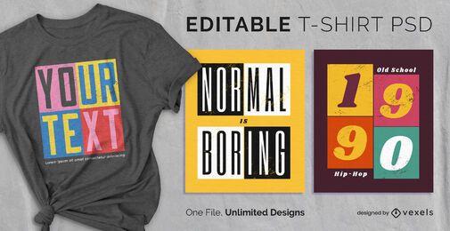 Painéis quadrados escaláveis t-shirt psd