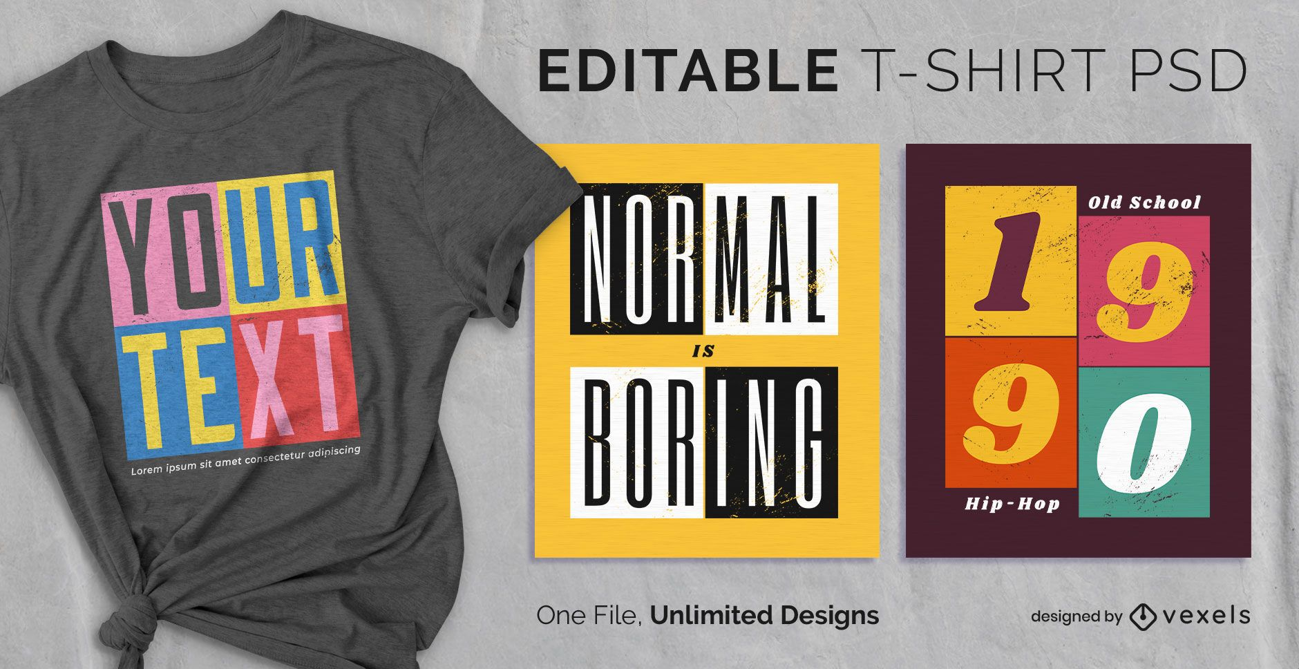 Square panels scalable t-shirt psd