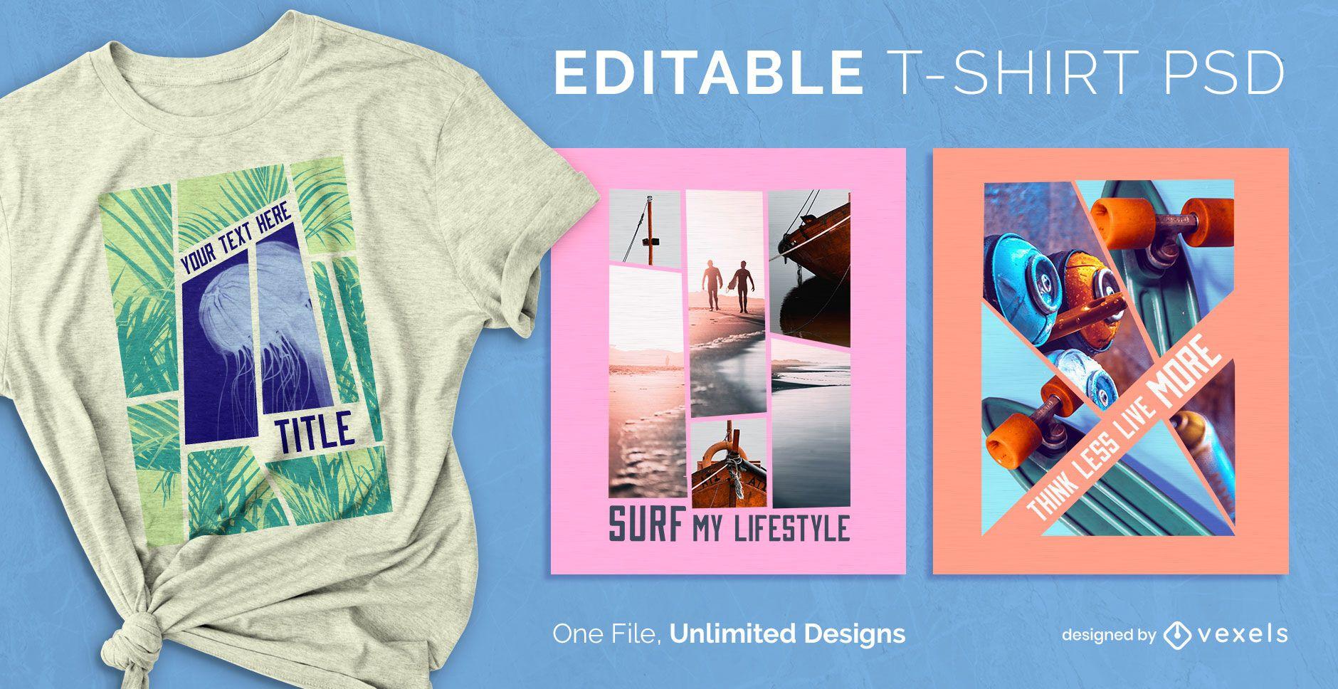 Collage skalierbares T-Shirt PSD