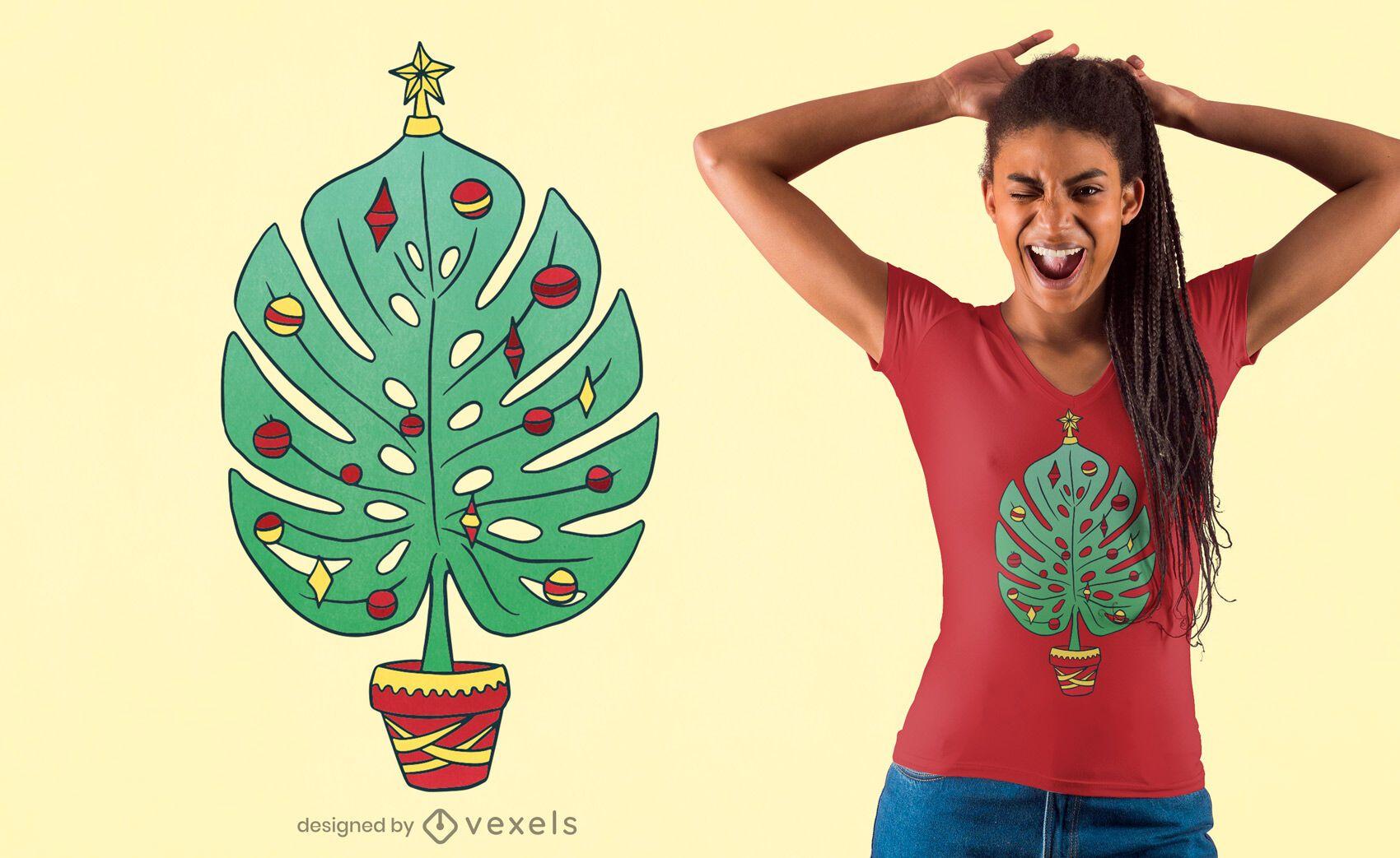 Diseño de camiseta monstera christmas tree