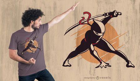 Design de camiseta com pose ninja
