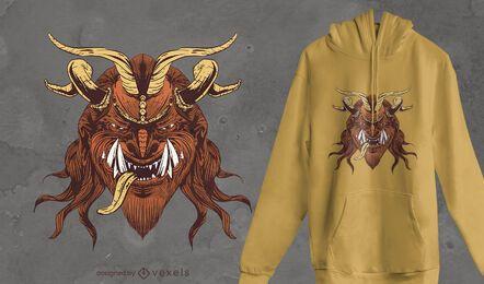 Diseño de camiseta de cabeza de Krampus