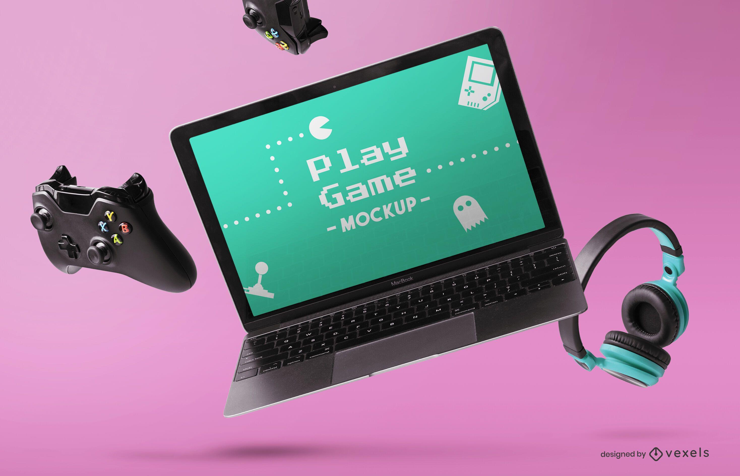 Composición de maqueta de portátil para juegos