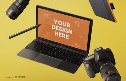 Composição de maquete de laptop e dispositivos