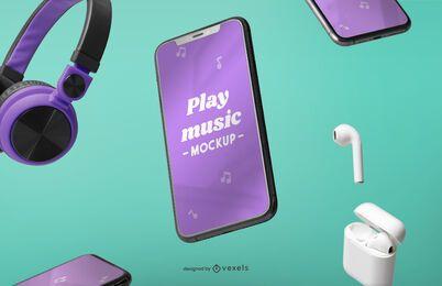 Composição de maquete de dispositivos de música e iphone