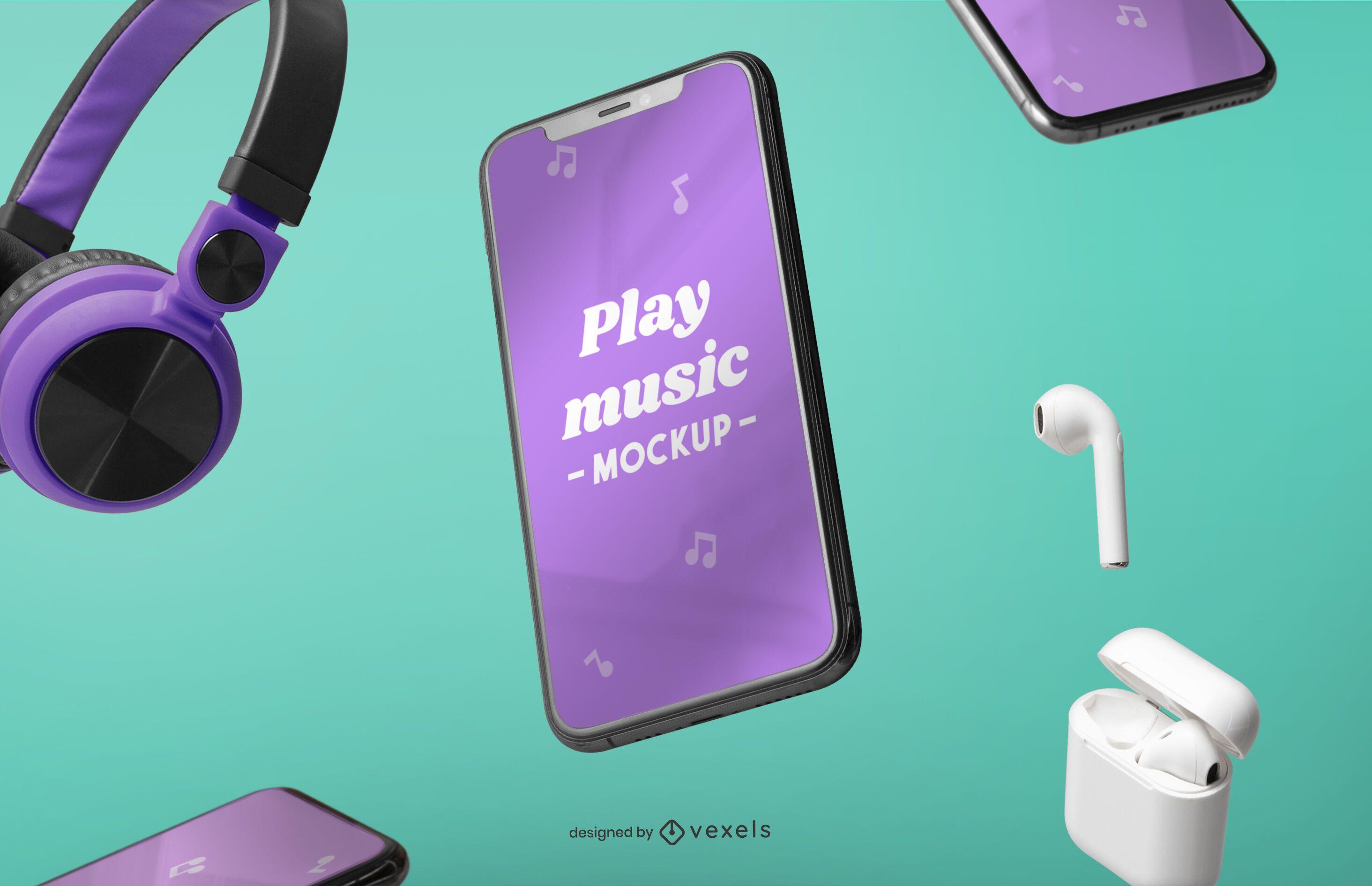 Composición de maquetas de dispositivos de música y iphone