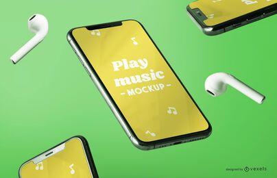 Composição de maquete de música para iphone