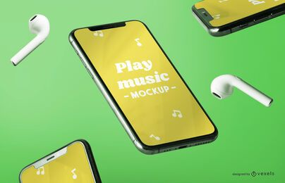 Iphone music mockup composition