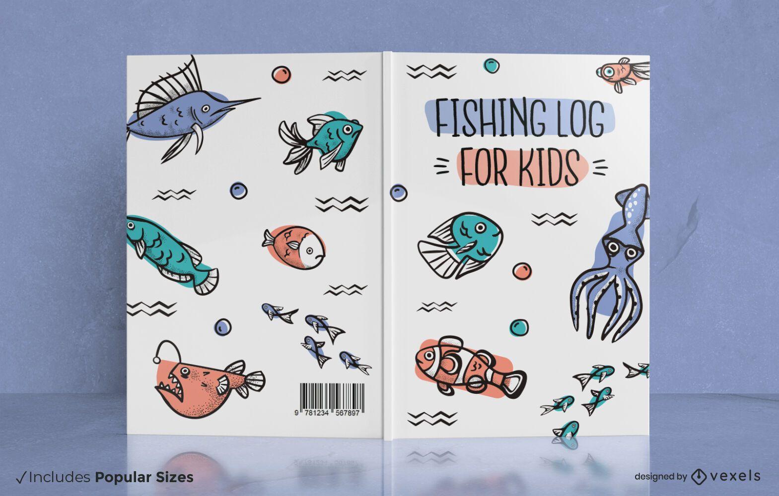 Diseño de portada de libro de peces