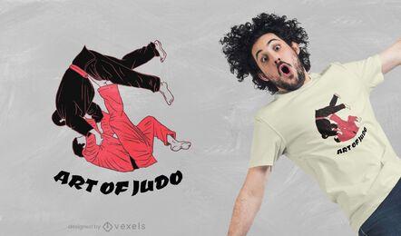 Desenho de camisetas com arte de judô