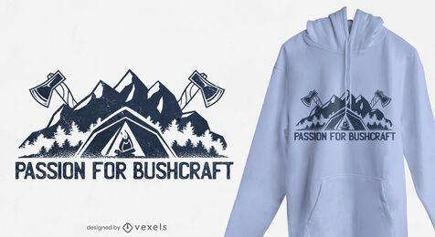 Diseño de camiseta Bushcraft passion